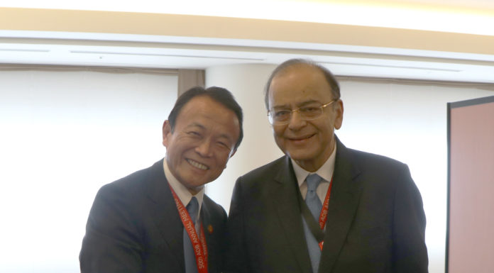 The Union Minister for Finance, Corporate Affairs and Defence, Shri Arun Jaitley meeting the Finance Minister of Japan, Mr. Taro Aso, on the sidelines of the annual Asian Development Bank Board of Governors' meeting, in Yokohama, Japan on May 07, 2017.