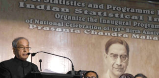 The President, Shri Pranab Mukherjee addressing at the National Celebration of 125th Birth Anniversary Year of Prof. Prasanta Chandra Mahalanobis, at Kolkata, in West Bengal on June 29, 2017. The Chief Statistician of India and Secretary, Ministry of Statistics & Programme Implementation, Dr. T.C.A. Anant is seen.
