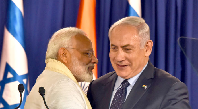 The Prime Minister, Shri Narendra Modi and the Prime Minister of Israel, Mr. Benjamin Netanyahu at the joint press meet at Beit Aghion, the official residence of the Prime Minister of Israel, on July 04, 2017.