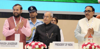 The President, Shri Pranab Mukherjee launching the SWAYAM, 32 SWAYAM Prabha DTH Channels and National Academic Depository, at the National Convention on Digital Initiatives, organised by the Ministry of Human Resource Development, in New Delhi on July 09, 2017. The Union Minister for Human Resource Development, Shri Prakash Javadekar and the Minister of State for Human Resource Development, Dr. Mahendra Nath Pandey are also seen.