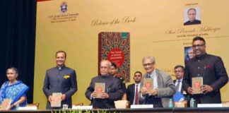"""The President, Shri Pranab Mukherjee receiving the first copy of the book """"The Future of Indian Universities: Comparative and International Perspectives"""" at Rashtrapati Bhavan, in New Delhi on July 17, 2017."""