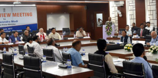 The Prime Minister, Shri Narendra Modi chairing a high level meeting to review the flood situation & the relief operations in the North Eastern States, in Guwahati on August 01, 2017.
