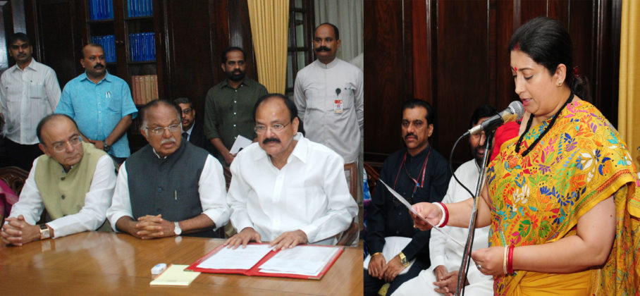 The Vice President and Chairman, Rajya Sabha, Shri M. Venkaiah Naidu administering the oath as Member, Rajya Sabha to Smt. Smriti Irani, at a Swearing-in Ceremony, at Parliament House, in New Delhi on August 25, 2017. The Deputy Chairman, Rajya Sabha, Shri P.J. Kurien, the Union Minister for Finance, Corporate Affairs and Defence, Shri Arun Jaitley and the Union Minister for Consumer Affairs, Food and Public Distribution, Shri Ram Vilas Paswan are also seen.