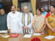 The Vice President and Chairman, Rajya Sabha, Shri M. Venkaiah Naidu with the newly elected Members of Rajya Sabha, Shri Amit Shah and Smt. Smriti Irani, at a Swearing-in Ceremony, at Parliament House, in New Delhi on August 25, 2017. The Deputy Chairman, Rajya Sabha, Shri P.J. Kurien, the Union Minister for Finance, Corporate Affairs and Defence, Shri Arun Jaitley and the Union Minister for Consumer Affairs, Food and Public Distribution, Shri Ram Vilas Paswan are also seen.