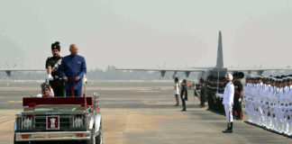The President, Shri Ram Nath Kovind inspecting the Guard of Honour, during his arrival, at Kolkata Airport, in West Bengal on November 28, 2017.
