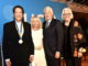 UCLA Medal recipient Peter Guber; Dean Judy Olian of the UCLA Anderson School of Management; UCLA Chancellor Gene Block; Dean Teri Schwartz of the UCLA School of Theater, Film and Television. (PRNewsfoto/UCLA Anderson School of Managem)