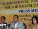 The Minister of Tourism, Assam, Dr. Hemanta Biswa Sarma and the Secretary, Ministry of Culture and Tourism, Smt. Rashmi Verma at a press conference regarding the 6th International Tourism Mart 2017, in Guwahati on December 06, 2017.