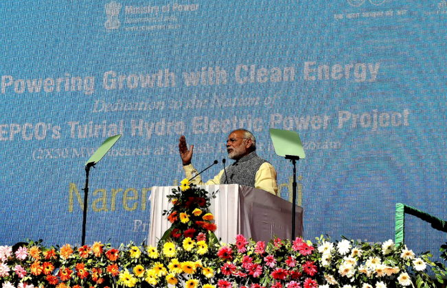 The Prime Minister, Shri Narendra Modi addressing the gathering at the ceremony to dedicate the Tuirial Hydro Electric Power Project to the Nation, at Assam Rifles Cant, Aizawl on December 16, 2017.