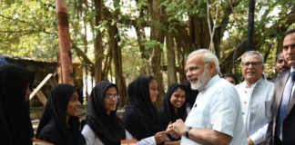 The Prime Minister, Shri Narendra Modi interacting with the School Kids, in Kavaratti, Lakshadweep on December 19, 2017.