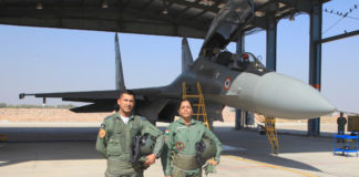 The Union Minister for Defence, Smt. Nirmala Sitharaman in front of Sukhoi 30MKI for a sortie, at Air Force Station, Jodhpur, in Rajasthan on January 17, 2018.