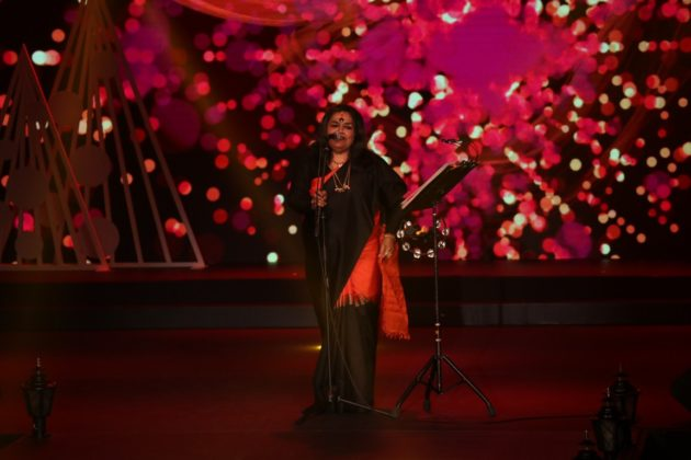 Usha Uthup performing at the East Zonal Crowning Ceremony of Fbb Colors Femina Miss India held at Swissotel, Kolkata.