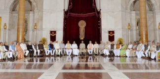 The President, Shri Ram Nath Kovind in a group photograph at the opening session of the 49th Governors' Conference, at Rashtrapati Bhavan, in New Delhi on June 04, 2018.