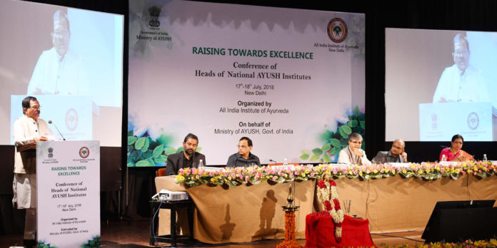 The Minister of State for AYUSH (Independent Charge), Shri Shripad Yesso Naik addressing at the inauguration of the Conference of Heads of National AYUSH Institutes, in New Delhi on July 17, 2018. The Secretary, Ministry of AYUSH, Shri Vaidya Rajesh Kotecha and other dignitaries are also seen.