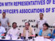 The Union Minister for Steel, Shri Chaudhary Birender Singh addressing a press conference after meeting the representatives of workers' unions of CPSEs under Steel Ministry, in New Delhi on July 17, 2018. The Minister of State for Steel, Shri Vishnu Deo Sai and the Secretary, Steel, Dr. Aruna Sharma are also seen.