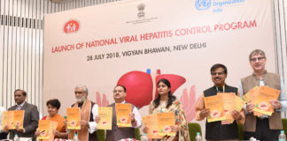 """The Union Minister for Health & Family Welfare, Shri J.P. Nadda launching the """"National Viral Hepatitis Control Program"""", at a function, in New Delhi on July 28, 2018. The Minister of State for Communications (I/C) and Railways, Shri Manoj Sinha, the Ministers of State for Health & Family Welfare, Shri Ashwini Kumar Choubey and Smt. Anupriya Patel and the Secretary, Ministry of Health & Family Welfare, Smt. Preeti Sudan are also seen."""