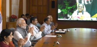 The Prime Minister, Shri Narendra Modi, the Prime Minister of Bangladesh, Ms. Sheikh Hasina jointly unveiled e-plaques for the ground-breaking ceremony of two projects - India-Bangladesh Friendship Pipeline & Dhaka-Tongi-Joydebpur Railway Project via video conference, in New Delhi on September 18, 2018.