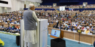 The Prime Minister, Shri Narendra Modi addressing at the inauguration of 1st Assembly of International Solar Alliance (ISA), 2nd IORA Renewable Energy Ministerial Meet & 2nd Global RE-Invest 2018, in New Delhi on October 02, 2018.