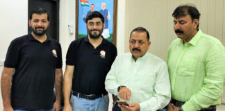 """The Minister of State for Development of North Eastern Region (I/C), Prime Minister's Office, Personnel, Public Grievances & Pensions, Atomic Energy and Space, Dr. Jitendra Singh launching the Northeast Tourism app, developed by a young """"Start-Up"""" group, in New Delhi on October 14, 2018."""