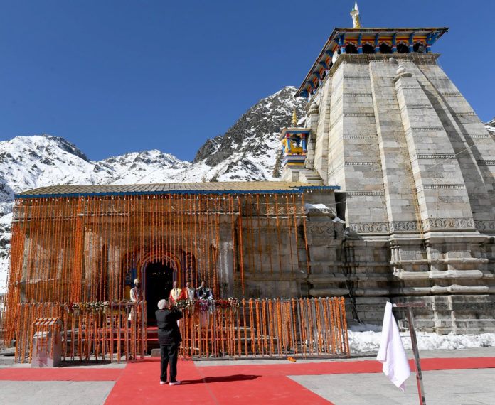 PM offers prayers at Kedarnath Temple - Takes an overview of progress of reconstruction projects