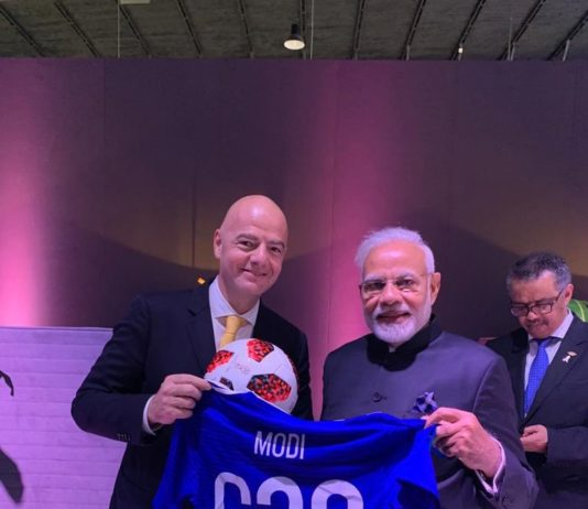 Modi with Football Jersey from FIFA president