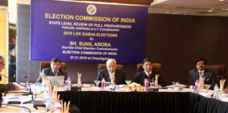 The Chief Election Commissioner, Shri Sunil Arora reviewing the election preparedness of Punjab, Haryana and Chandigarh in connection with the forthcoming Lok Sabha Elections in 2019, in Chandigarh on January 07, 2019. The Senior Deputy Election Commissioner, Shri Umesh Sinha and other dignitaries are also seen.