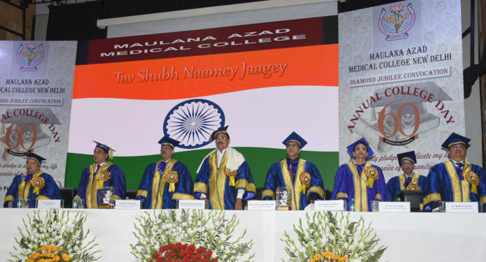 The Vice President, Shri M. Venkaiah Naidu at the 60th Annual Day Celebrations of the Maulana Azad Medical College, in New Delhi on February 27, 2019.