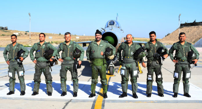 The Chief of the Air Staff, Air Chief Marshal B.S. Dhanoa and the Air Officer Commanding-in-Chief Western Air Command, Air Marshal R. Nambiar with the formation members, during the 'Missing Man' formation sortie, at Bhatinda, Punjab on May 27, 2019.