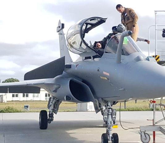 The Union Minister for Defence, Shri Rajnath Singh onboard newly inducted Rafale aircraft, in France on October 08, 2019.