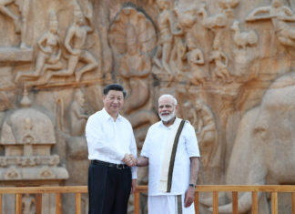 The Prime Minister, Shri Narendra Modi and the President of the People's Republic of China, Mr. Xi Jinping at Arjuna's Penance, in Mamallapuram, Tamil Nadu on October 11, 2019.
