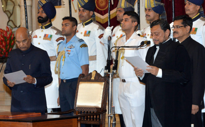 The President, Shri Ram Nath Kovind administering the oath of office to Shri Justice Sharad Arvind Bobde, as the Chief Justice of India, at a swearing-in ceremony, at Rashtrapati Bhavan, in New Delhi on November 18, 2019.