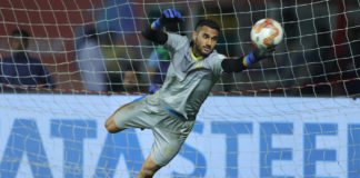 Kamaljit Singh goalkeeper of Hyderabad FC during the warm up session before match 10 of the Indian Super League ( ISL ) between Jamshedpur FC and Hyderabad FC held at the JRD Tata Sports Complex, Jamshedpur, India on the 29th October 2019. Photo by: Deepak Malik / SPORTZPICS for ISL