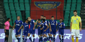 Chennaiyin FC celebrate their 3-1 win over Kerala Blasters FC in the Hero ISL today