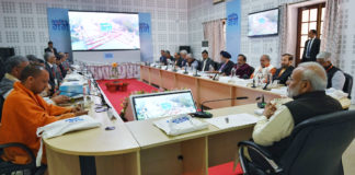 The Prime Minister, Shri Narendra Modi attends the Ganga Council Meeting, in Kanpur on December 14, 2019.
