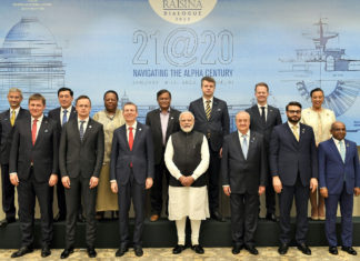 The Prime Minister, Shri Narendra Modi with the Ministerial delegation from various countries, on the sidelines of the Raisina Dialogue 2020, in New Delhi on January 15, 2020.