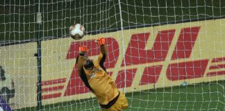 Arindam Bhattacharja goalkeeper of ATK makes the save during the final of the Indian Super League ( ISL ) between ATK FC and Chennaiyin FC held at the Jawaharlal Nehru Stadium, Goa, India on the 14th March 2020. Photo by: Ron Gaunt / SPORTZPICS for ISL