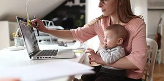 Flickr Mom working from home- Credit to https://www.lyncconf.com/.   Flickr