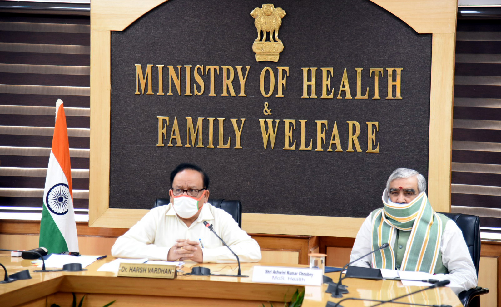 The Union Minister for Health & Family Welfare, Science & Technology and Earth Sciences, Dr. Harsh Vardhan chairing a high-level review meeting with the Lt. Governor of Delhi, Shri Anil Baijal, the Health Minister of Delhi, Shri Satyendra Jain, various District Magistrates, Commissioners & Mayors of Delhi on status, preparations & management of COVID-19 in various districts of NCT of Delhi, via video conferencing, in New Delhi on June 04, 2020. The Minister of State for Health and Family Welfare, Shri Ashwini Kumar Choubey is also seen.