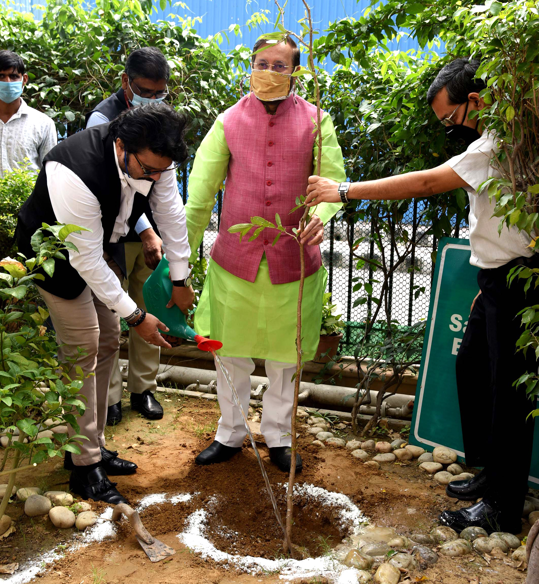 The Union Minister for Environment, Forest & Climate Change, Information & Broadcasting and Heavy Industries and Public Enterprise, Shri Prakash Javadekar planting a sapling at the virtual celebration of the World Environment Day, 2020 with focus on Nagar Van (Urban Forest) on the theme 'Biodiversity', in New Delhi on June 05, 2020. The Minister of State for Environment, Forest and Climate Change, Shri Babul Supriyo and the Secretary, Ministry of Environment, Forest & Climate Change, Shri R.P. Gupta are also seen.