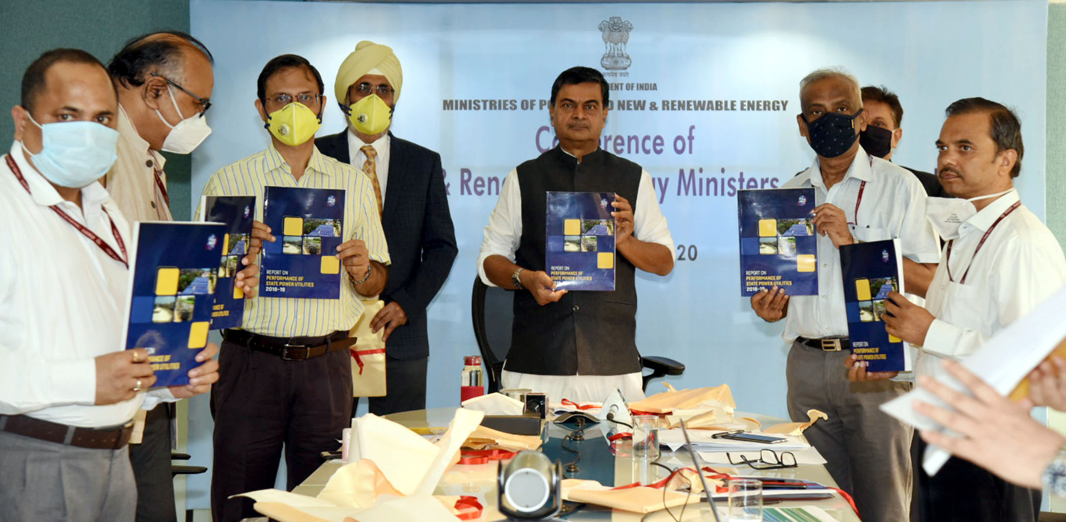 The Minister of State for Power, New & Renewable Energy (Independent Charge) and Skill Development & Entrepreneurship, Shri Raj Kumar Singh releasing a publication at a Conference of Power and New & Renewable Energy Ministers of States & UTs, through Video Conferencing, in New Delhi on July 03, 2020. The Secretary, Ministry of Power, Shri Sanjeev Nandan Sahai is also seen.