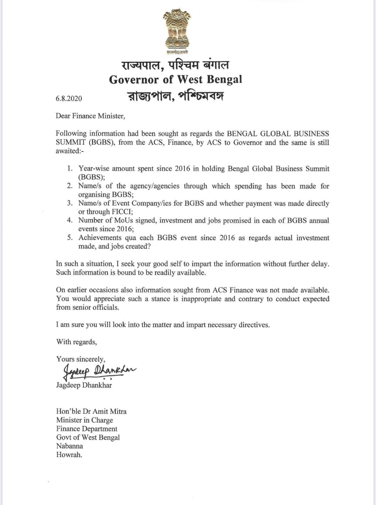 Governor letter to Amit Mitra