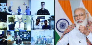 The Prime Minister, Shri Narendra Modi interacts with the industries, startups and academia from the Space sector via video conference, in New Delhi on December 14, 2020.