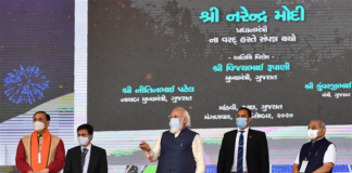 The Prime Minister, Shri Narendra Modi laying the foundation stone of various development projects, in Kutch, Gujarat on December 15, 2020. The Chief Minister of Gujarat, Shri Vijay Rupani and the Deputy Chief Minister of Gujarat, Shri Nitinbhai Patel are also seen.