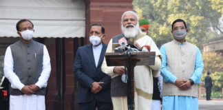 The Prime Minister, Shri Narendra Modi addressing the media ahead of the Budget Session of Parliament, in New Delhi on January 29, 2021. The Union Minister for Parliamentary Affairs, Coal and Mines, Shri Pralhad Joshi, the Minister of State for Development of North Eastern Region (I/C), Prime Minister's Office, Personnel, Public Grievances & Pensions, Atomic Energy and Space, Dr. Jitendra Singh, the Minister of State for Parliamentary Affairs and Heavy Industries & Public Enterprises, Shri Arjun Ram Meghwal and the Minister of State for External Affairs and Parliamentary Affairs, Shri V. Muraleedharan are also seen.