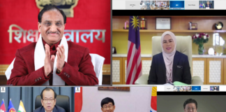The Union Education Minister, Dr. Ramesh Pokhriyal 'Nishank' attends the ASEAN-India Hackathon 2021 award ceremony via video conference, in New Delhi on February 04, 2021.