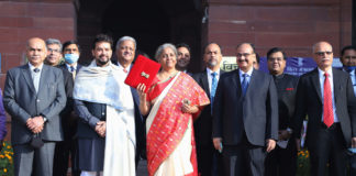 The Union Minister for Finance and Corporate Affairs, Smt. Nirmala Sitharaman departs from North Block to Rashtrapati Bhavan and Parliament House, along with the Minister of State for Finance and Corporate Affairs, Shri Anurag Singh Thakur and the senior officials to present the General Budget 2021-22, in New Delhi on February 01, 2021.