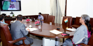 The Union Minister for Finance and Corporate Affairs, Smt. Nirmala Sitharaman participates in the 103rd Meeting of the Development Committee Plenary, through video conferencing, in New Delhi on April 09, 2021.