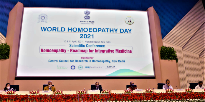 The Chairman, Scientific Advisory Board, CCRH, Dr. V.K. Gupta and other dignitaries at a conference on Homoeopathy-Roadmap for Integrative Medicine, organised by the Central Council for Research in Homoeopathy (CCRH), Ministry of AYUSH, in New Delhi on April 10, 2021.