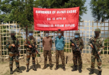 TWO ACTIVE CADRES OF ULFA (I) SURRENDER TO SECURITY FORCES IN NAGALAND - Photo by Assam Rifles official Twitter