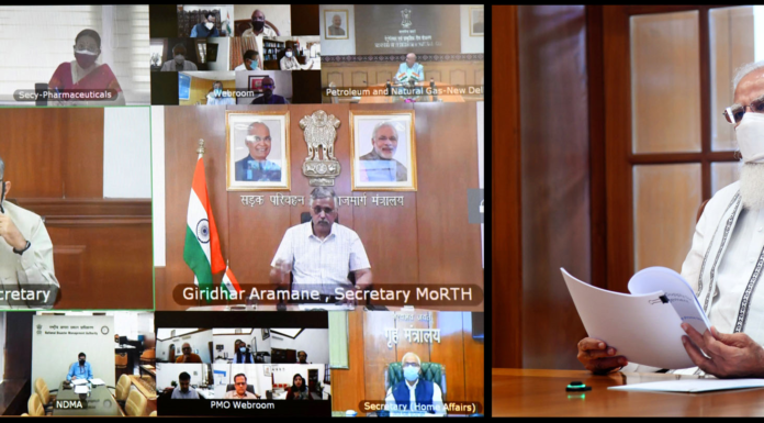 The Prime Minister, Shri Narendra Modi holds a high-level meeting on oxygen supply and availability, through video conferencing, in New Delhi on April 22, 2021.