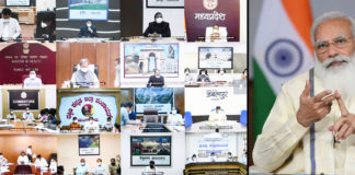 The Prime Minister, Shri Narendra Modi interacting with the State and District officials across the country on COVID-19 management, through video conferencing, in New Delhi on May 18, 2021.